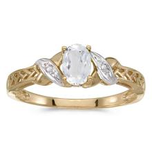 Certified 14k Yellow Gold Oval White Topaz And Diamond Ring #50898v3