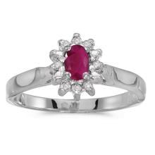 Certified 10k White Gold Oval Ruby And Diamond Ring #50570v3