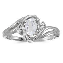 Certified 10k White Gold Oval White Topaz And Diamond Ring #51114v3