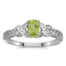 Certified 14k White Gold Oval Peridot And Diamond Ring #50804v3