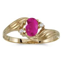 Certified 10k Yellow Gold Oval Ruby And Diamond Ring #51184v3