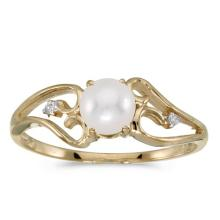 Certified 10k Yellow Gold Pearl And Diamond Ring #50747v3