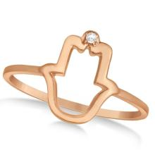 Hamsa Hand Ring with Diamond Accent for Women 14k Rose Gold 0.01ct #75759v3