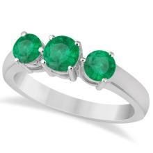 Three Stone Round Emerald Gemstone Ring in 14k White Gold 1.50ct #76006v3