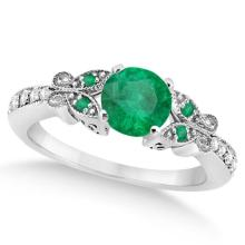 Butterfly Genuine Emerald and Diamond Engagement Ring 14K W. Gold 0.71ct #76436v3