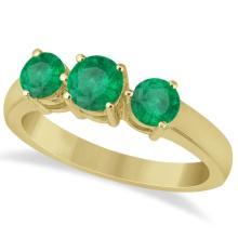 Three Stone Round Emerald Gemstone Ring in 14k Yellow Gold 1.50ct #76007v3