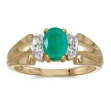 Certified 10k Yellow Gold Oval Emerald And Diamond Ring #50567v3