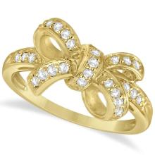 Pave Set Diamond Bow Tie Fashion Ring in 14k Yellow Gold (0.26 ct) #75987v3