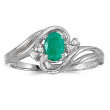 Certified 10k White Gold Oval Emerald And Diamond Ring #51107v3