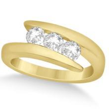 Three Stone Diamond Journey Ring Tension Set 14K Yellow Gold 0.60ctw #72022v3
