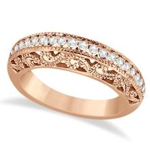 Vintage Filigree Diamond Wedding Ring 14K Rose Gold (0.32ct) #71915v3