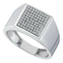 10KT White Gold 0.25CTW DIAMOND MICRO PAVE MENS RING #35323v3