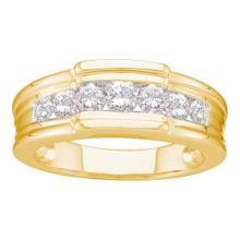 14K Yellow-gold 1.00CTW DIAMOND FASHION MENS BAND #37250v3