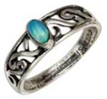 STERLING SILVER SYNTHETIC BLUE OPAL RING WITH OPEN SCROLL BAND #16937v3