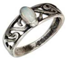 STERLING SILVER SYNTHETIC WHITE OPAL RING WITH OPEN SCROLL BAND #16936v3