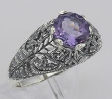 Victorian Style Genuine Amethyst Solitaire Filigree Ring - Sterling Silver #97461v2