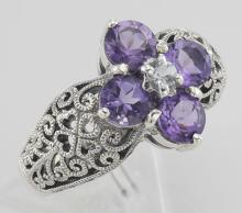 Classic Victorian Style Amethyst Filigree Ring w/ CZ Center - Sterling Silver #97463v2