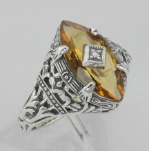 Antique Victorian Style Citrine Filigree Ring w/ Diamond - Sterling Silver #97754v2