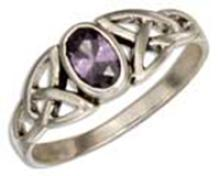 STERLING SILVER CELTIC TRINITY KNOT RING WITH PURPLE GLASS OVAL #16945v3
