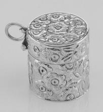 Victorian Style Floral Sewing Thimble Case in Fine Sterling Silver #97874v2