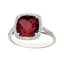 Cushion -Cut Garnet and Diamond Cocktail Ring 14k White Gold (3.70cttw) #52316v3