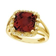 Cushion-Cut Garnet and Diamond Cocktail Ring 14k Yellow Gold (8.05cttw) #52315v3