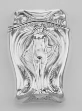 Art Nouveau Style Repousse Nude Match Safe In Fine Sterling Silver #97898v2