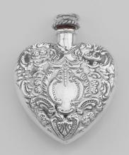 Classic Small Heart Perfume Bottle or Memorial Ash Pendant - Sterling Silver #97834v2