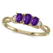 Oval Amethyst and Diamond Three Stone Ring 14k Yellow Gold (0.53ctw) #52489v3