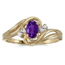 Amethyst and Diamond Swirl Ring in 14k Yellow Gold (0.80ctw) #52452v3