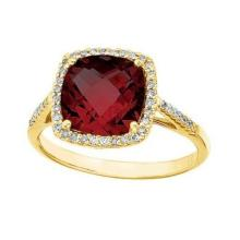 Cushion -Cut Garnet and Diamond Cocktail Ring 14k Yellow Gold (3.70cttw) #52317v3