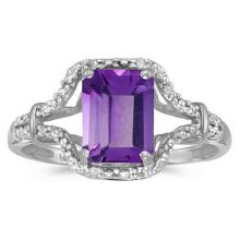 Emerald-Cut Amethyst and Diamond Cocktail Ring 14k White Gold #52446v3