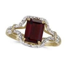 Emerald-Cut Garnet and Diamond Cocktail Ring 14k Yellow Gold #52326v3