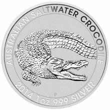 2014 1 oz Australian Silver Saltwater Crocodile BU #24349v3