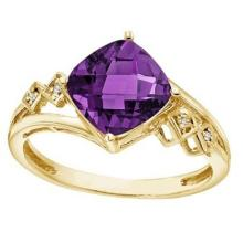 Cushion Cut Amethyst and Diamond Cocktail Ring 14k Yellow Gold (8mm) #52503v3