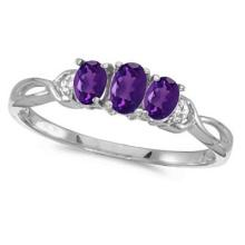 Oval Amethyst and Diamond Three Stone Ring 14k White Gold (0.53ctw) #52490v3