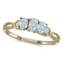 Oval Aquamarine and Diamond Three Stone Ring 14k Yellow Gold (0.50ctw) #52371v3