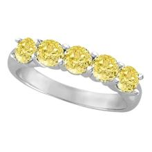 Five Stone Fancy Yellow Canary Diamond Anniversary Ring 14k White (1.50ct) #52281v3