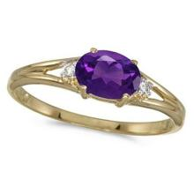 Oval Amethyst and Diamond Right-Hand Ring 14K Yellow Gold (0.45ct) #52411v3