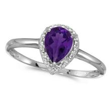 Pear Shape Amethyst and Diamond Cocktail Ring 14k White Gold #52448v3