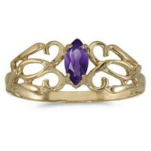 Marquise Amethyst Filigree Ring Antique Style 14k Yellow Gold #52445v3