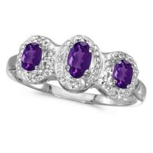 0.53tcw Oval Amethyst and Diamond Three Stone Ring 14k White Gold #52453v3