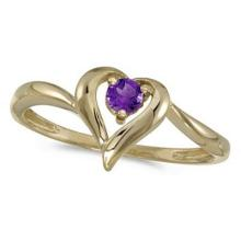 Amethyst Heart Right-Hand Ring in 14k Yellow Gold (0.20ct) #52440v3