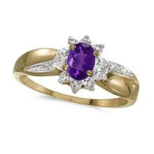 Amethyst and Diamond Right Hand Flower Shaped Ring 14k Yellow Gold (0.45ct) #52483v3