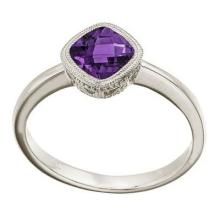 Cushion-Cut Amethyst Antique Style Ring in 14K White Gold (6mm) #52403v3
