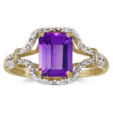 Emerald-Cut Amethyst and Diamond Cocktail Ring 14k Yellow Gold #52447v3