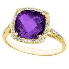 Cushion-Cut Amethyst and Diamond Cocktail Ring 14k Yellow Gold (3.70ct) #52438v3