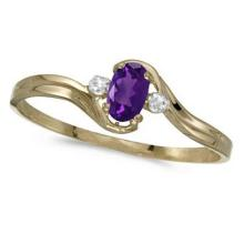 Oval Amethyst and Diamond Right-Hand Ring 14K Yellow Gold (0.23ctw) #52413v3