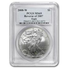 2008-W Burnished Silver Eagle MS-69 PCGS (Rev '07, Spotted) #31336v3