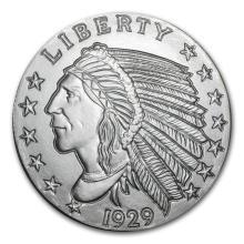 5 oz Silver Round - Incuse Indian #21634v3